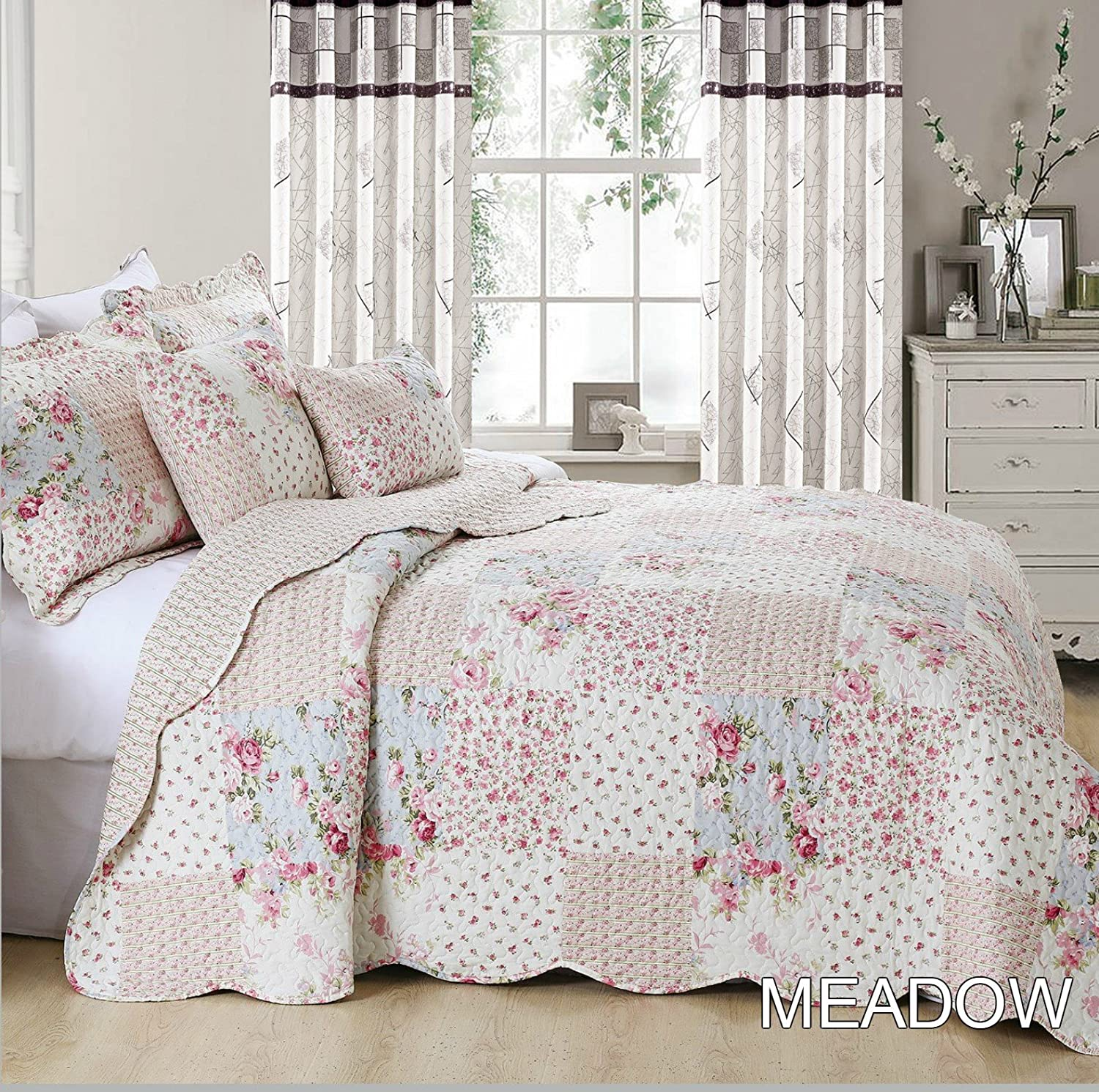 Alicia Bedspread Comforter Quilted Bed Throw 3 Pieces Vintage Printed Patchwork (Alicia, Double) PL