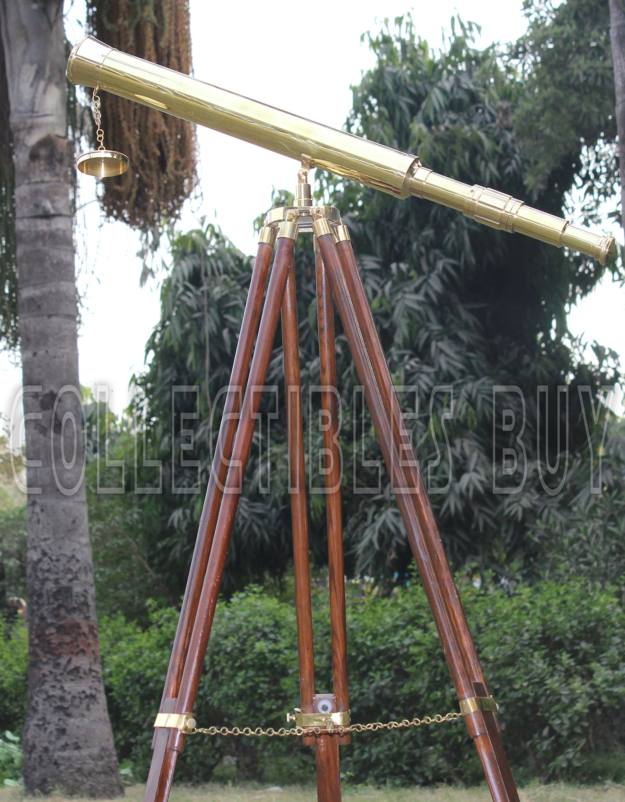 Shiny Brass Nautical Single Barrel Telescope Wooden Tripod Ideal Home Decor Brass Finish & Brown by Collectibles Buy