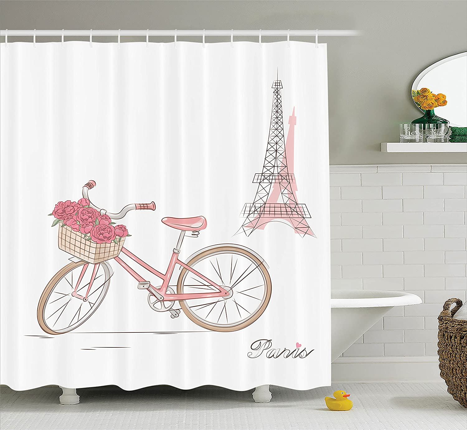 Vintage Bike with Roses in Basket Paris Eiffel Tower Landscape French Floral Valentines Pink White 75 Inches Long Polyester Fabric Bathroom Shower Curtain Ambesonne Vintage Decor Collection