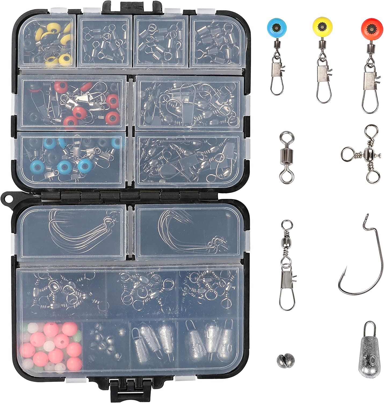 RUNCL Fishing Terminal Tackle, 148/170pcs Fishing Tackle Box - Fishing Hooks, Weights, Jig Heads, O-Rings, Barrel Swivels, Fastlock Snaps, Fishing Beads, Space Beans - Freshwater & Saltwater Fishing