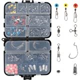 RUNCL Fishing Terminal Tackle, 148/170pcs Fishing Tackle Box - Fishing Hooks, Weights, Jig Heads, O-Rings, Barrel…