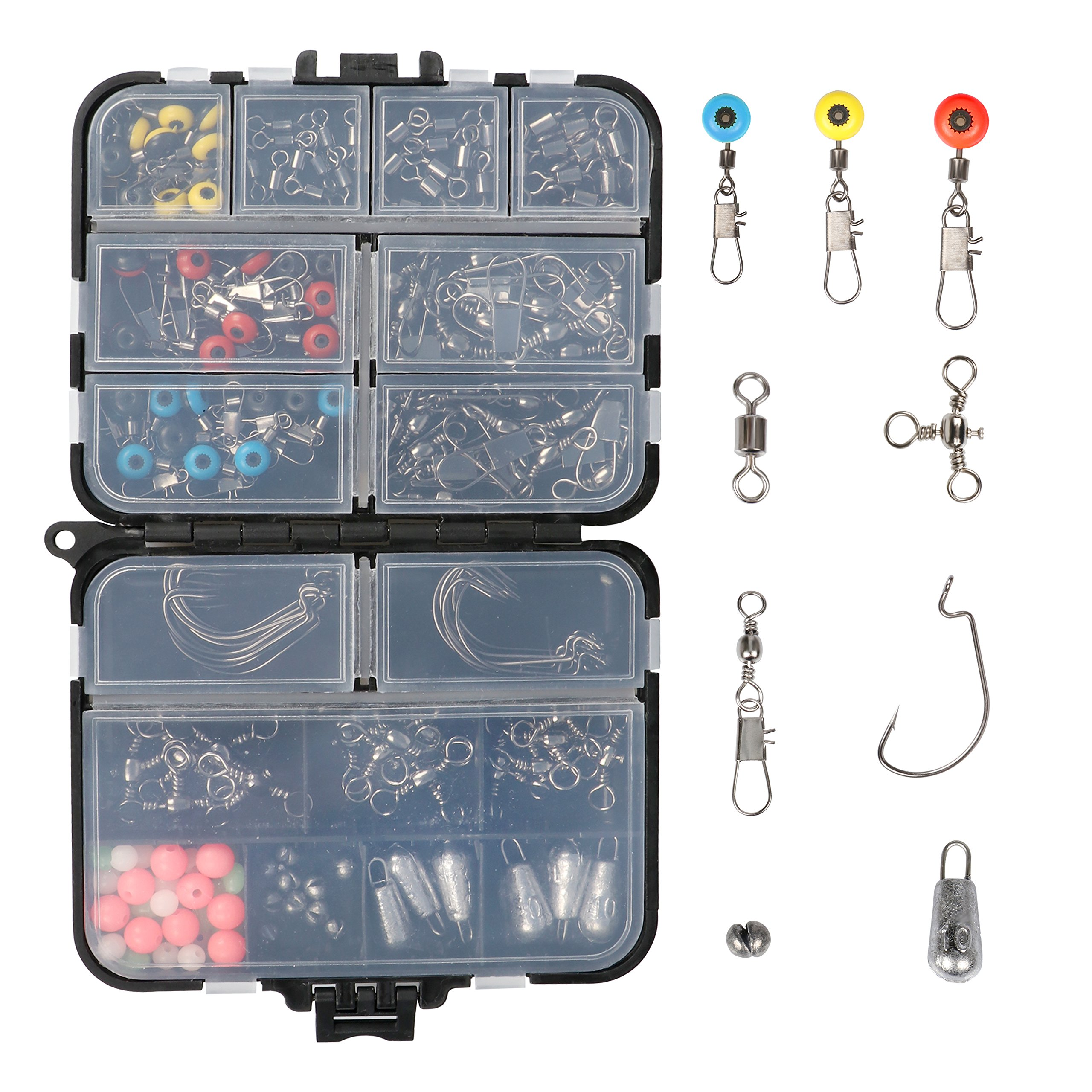 RUNCL Fishing Terminal Tackle, Fishing Tackle Box with Barrel Swivels, Safety Snaps, Off Set Hooks, Fishing Weights, Fishing Beads and Swivel Slides for Saltwater (Pack of 170) by RUNCL