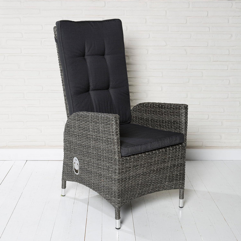 Poly Rattan Gartenstuhl Rocking Chair Barcelona für die Terrasse oder Garten - Gartenmöbel Gartensessel in grau mit verstellbarer Rückenlehne und Kissenauflagen