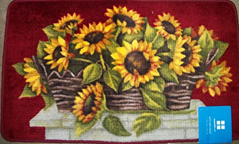 Lovely Heavy Deep Colored Sunflower Kitchen Rug
