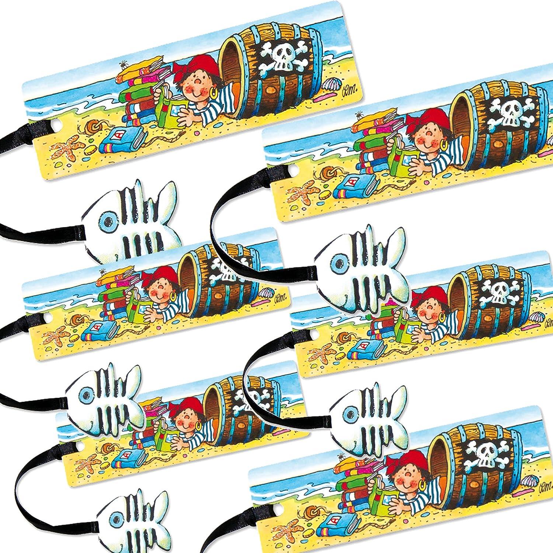 6 Lesezeichen * PIT PLANKE * mit Kordel und Anhänger von Lutz Mauder // Geschenk Bücher Buch Kinder Lesen Mitgebsel Pirat Buch Bücher LM Lesezeichen-Pit Planke