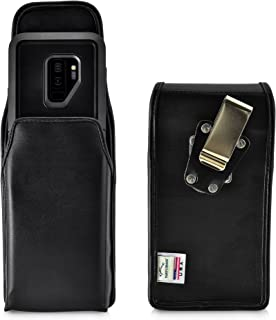 product image for Turtleback Belt Case Made for Samsung Galaxy S9 Plus + with OB Pursuit case Black Vertical Holster Leather Pouch with Heavy Duty Rotating Ratcheting Belt Clip Made in USA