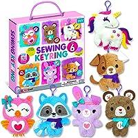 KRAFUN Unicorn Sewing Keyring Kit for Kids Age 7 8 9 10 11 12 Beginner Art & Craft, Includes 6 Stuffed Animal Bear, Dog…