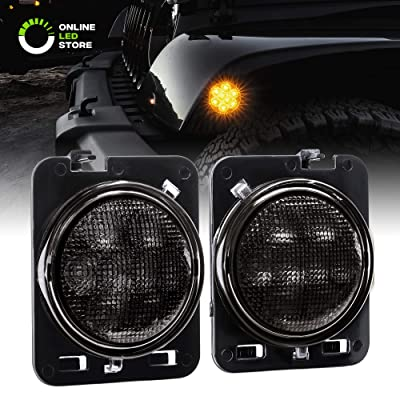 Jeep LED Side Marker Lights [Smoked Lens] [Amber Color] Side Marker Lights for 2007-2020 Jeep Wrangler JK Unlimited Accessories: Automotive