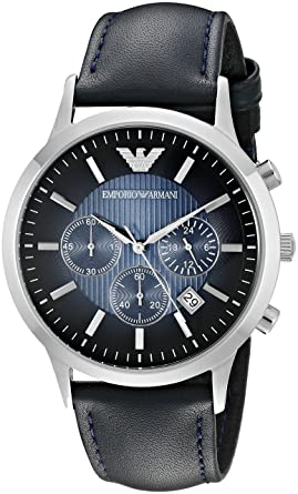 Emporio Armani Mens AR2473 Dress Blue Leather Watch