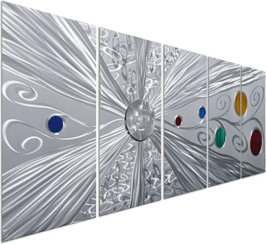 Pure Art Willow Tree of Life Metal Wall Art Abstract Silver Sculpture Decor...