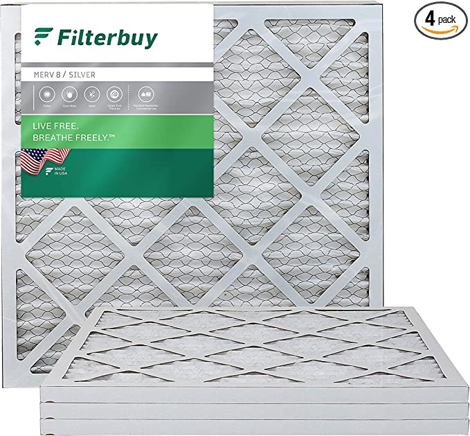 FilterBuy 20x20x1, Pleated HVAC AC Furnace Air Filter, MERV 8, AFB Silver, 4-Pack