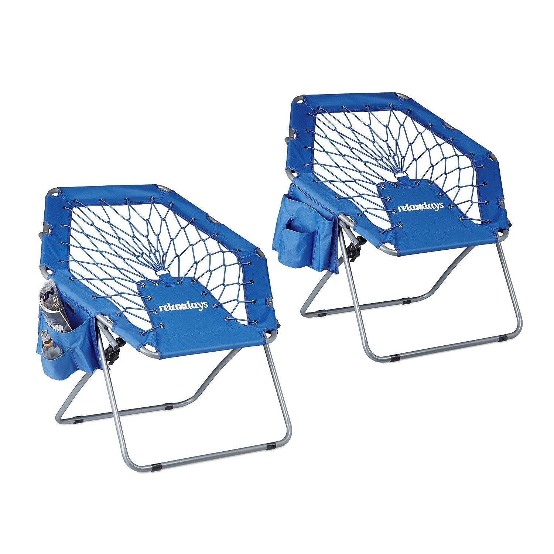 2x Bungee Stuhl WEBSTER, Trampolinstuhl, elastisch, Federung, faltbar, bis 100 kg, Seitentasche, Klappstuhl, blau Relaxdays