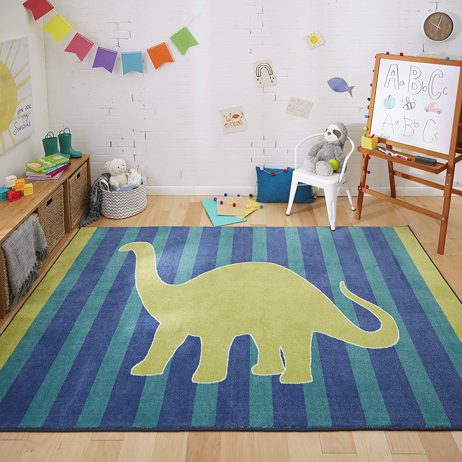 Mohawk Home Friendly Dinosaur Blue Area Rug 3 9 X5 Black Green Furniture Decor