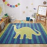 Mohawk Home Friendly Dinosaur Blue Striped Printed Contemporary Kids Area Rug, 5'x8'