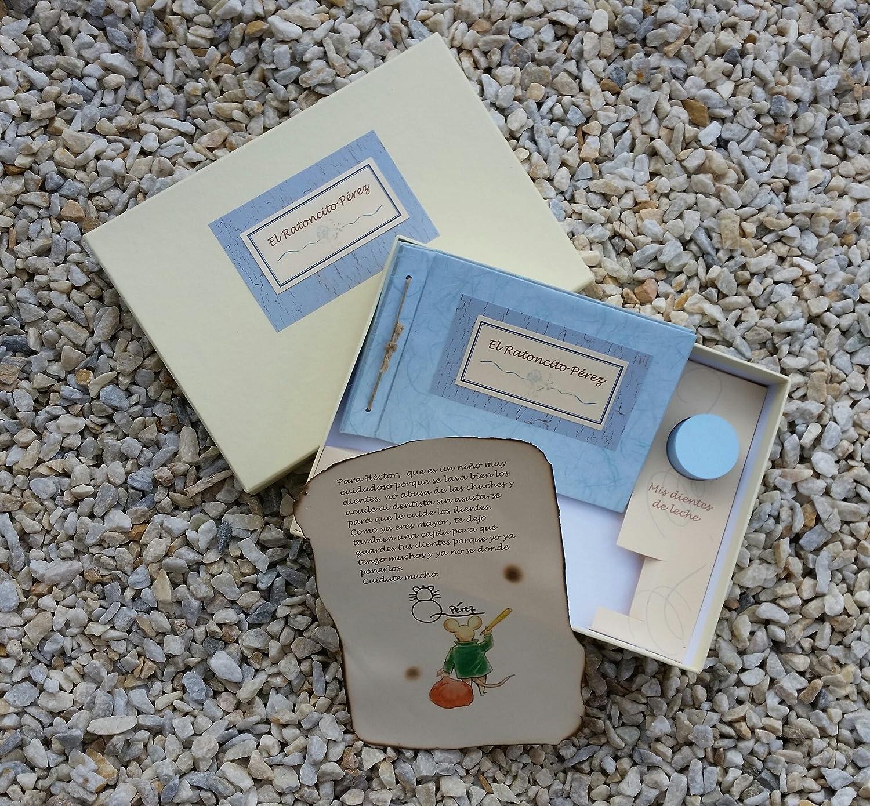 Libro del Ratoncito Pérez Azul hecho a mano y personalizado con el nombre del niño LyL Creaciones