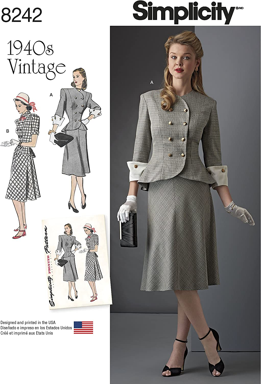 Simplicity 8242 Women\'s 1940\'s Vintage Fashion Plus Size Dress Sewing  Pattern, Sizes 20W-28W