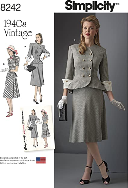 Simplicity 8242 Women\'s 1940\'s Vintage Fashion Plus Size Dress Sewing  Pattern, Sizes 20W-28W