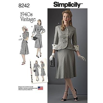 Amazon Simplicity Pattern 8242 Aa Vintage 1940s Miss Plus