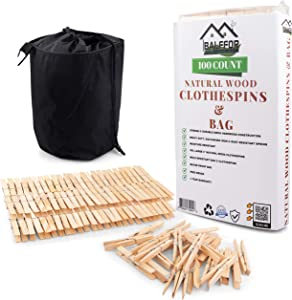 Balffor 100 Large Wooden Clothespins & Clothespin Bag - Jumbo, Heavy Duty & Natural Pine Wood Clothes Pegs with Large Waterproof and Dust-Proof Clothes Pin Bag for Indoor or Outdoor Clothesline