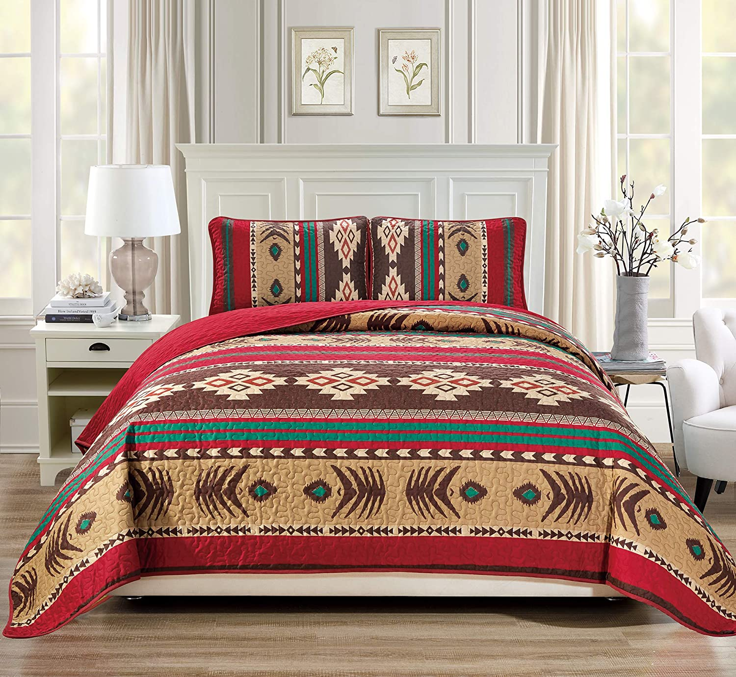 Rugs 4 Less Western Southwestern Native American Tribal Navajo Design 3 Piece in Brown Green and Burgundy Oversize Bedspread Quilt Set (King/California King) 3pc Mojave King - Cal King
