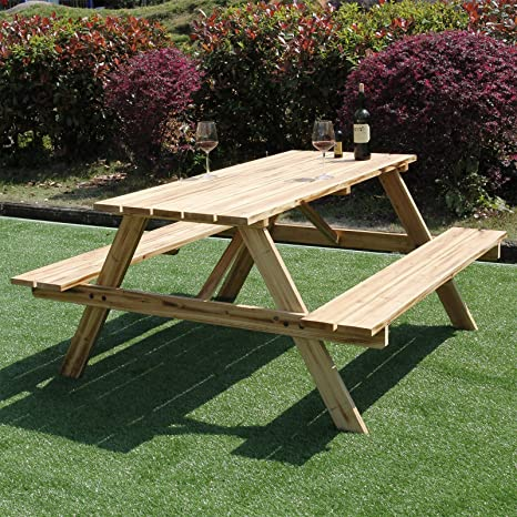 Fantastic Marko Outdoor 5Ft Picnic Table Bench Pressure Treated Wood Pub Garden Outdoor Playground Seat Spiritservingveterans Wood Chair Design Ideas Spiritservingveteransorg