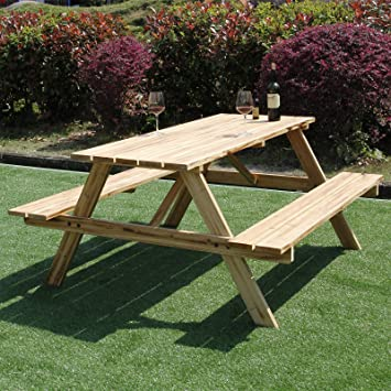 Marko Outdoor FT Picnic Table Bench Pressure Treated Wood Pub - Pressure treated wood picnic table
