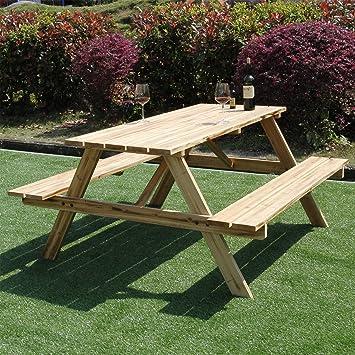 Marko Outdoor Table de pique-nique Avec banc intégré En bois ...