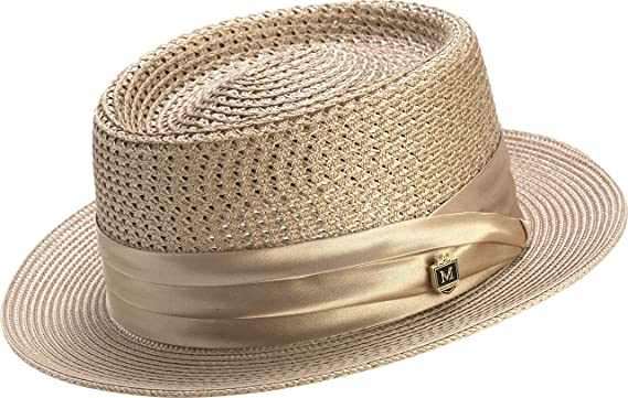 f446d6b02 MONTIQUE Men's Mesh Straw Pork Pie Hat H49