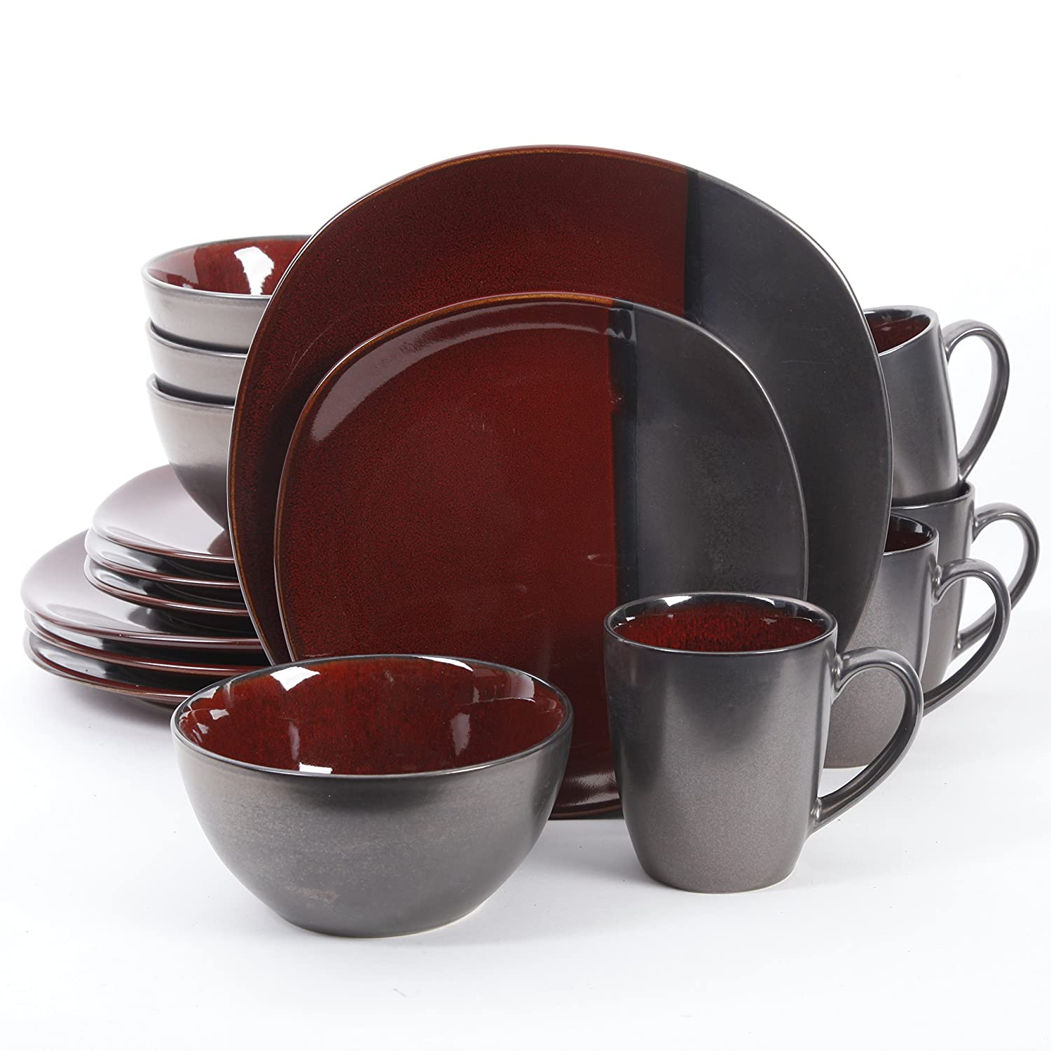 Gibson Elite 16 Piece Volterra Soft Square Dinnerware Set with Reactive Glaze Stoneware, Red and Grey 109009.16RM