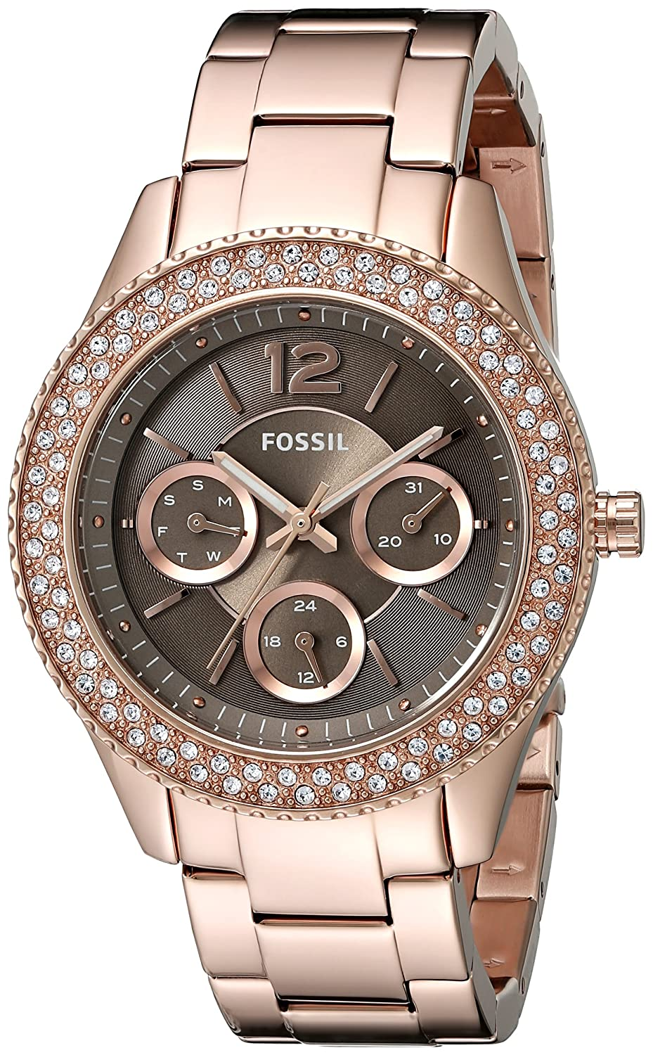 Fossil Womens Es3863 Stella Rose Gold Tone Stainless Ch2977 Steel Watch Watches