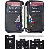 Travel Wallet & Family Passport Holder w/RFID Blocking- Document Organizer Case (Shadow)