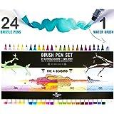 Stationery Island Brush Pens Pinselhaar Spitze - Aquarell Pinselstifte 4 Jahreszeiten Farb-Edition 24er Pack + 1 Wasserpinsel