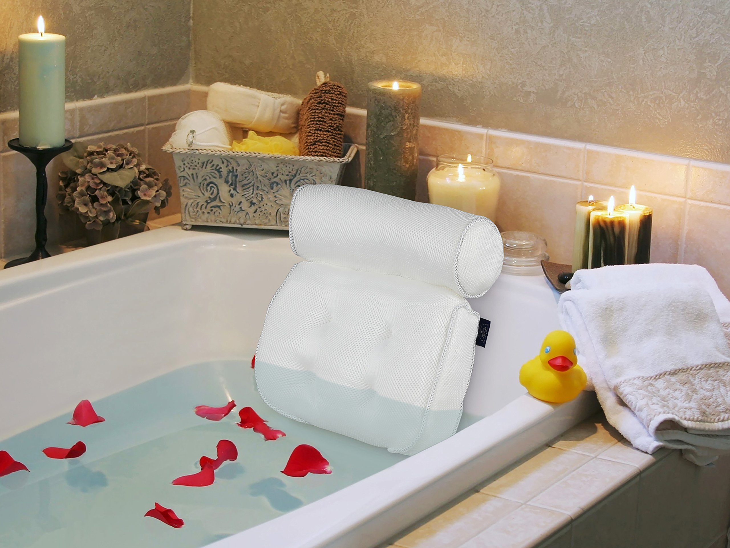 Regal Bazaar Spa Bath Pillow - White Quick-Drying Mesh Fabric - With Large Suction Cups, Hanging Hook and Carry Bag - Helps Support Head, Back, Shoulder and Neck - A Great Gift Idea!