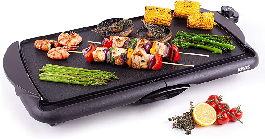 Duronic Electric Griddle GP20 | Non-Stick Teppanyaki Grill Pan | Large Table-top Breakfast Cooking Plate | 52x27cm | Easy Clean | Fat Drip Tray | Adjustable Temperature | Indoor Portable BBQ Barbecue: Amazon.co.uk