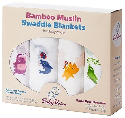 Mantas Swaddle (bambú Muselina) Pack de 4 + 4 Bonos: Guía de clips de cochecito, Chupete clip & de dormir para bebé por babyvoice