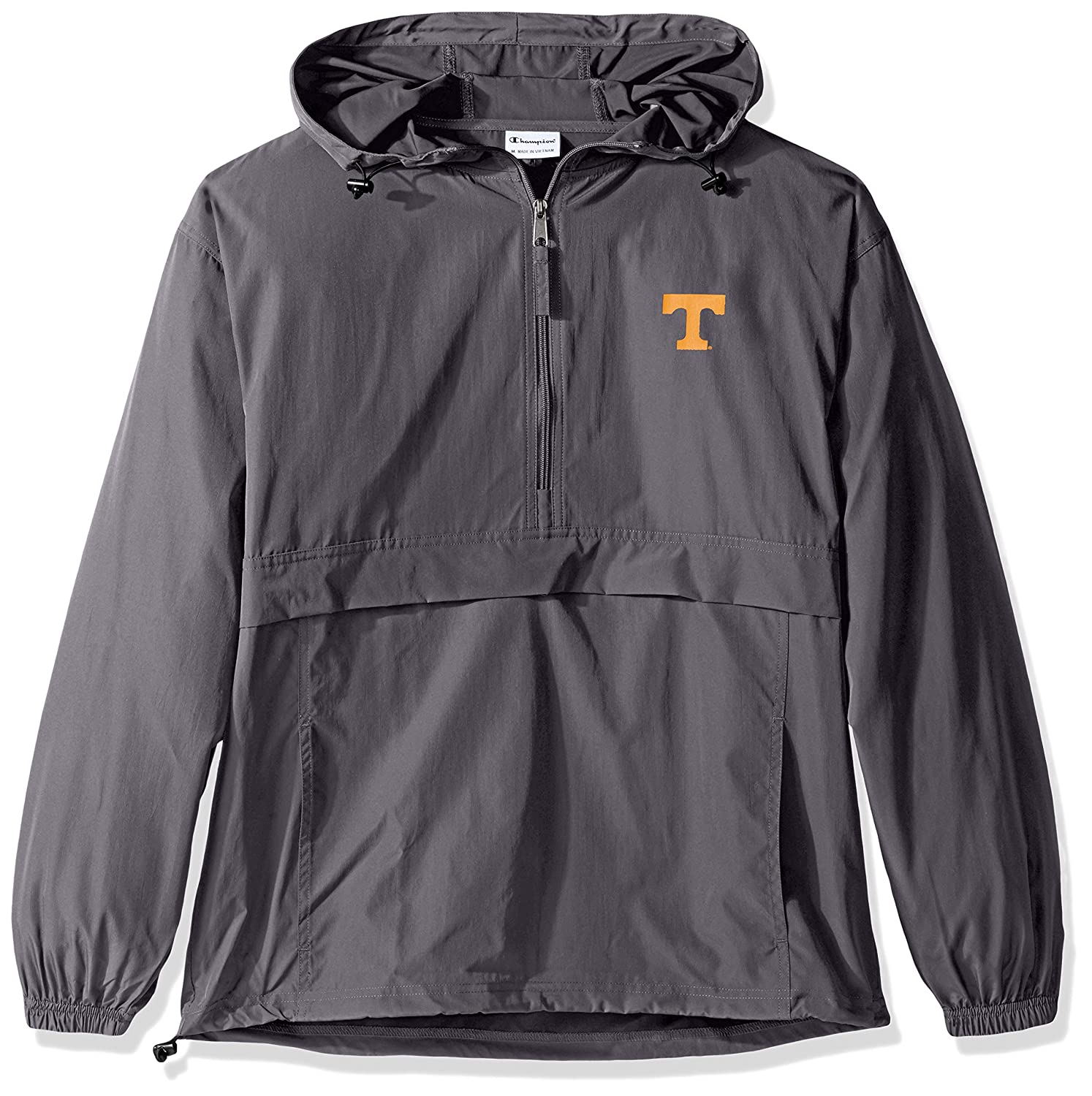 a081a81393c3 Amazon.com   Champion NCAA Men s Half Zip Pack   Go Water Resistant Front  Pocket Packable Jacket   Sports   Outdoors