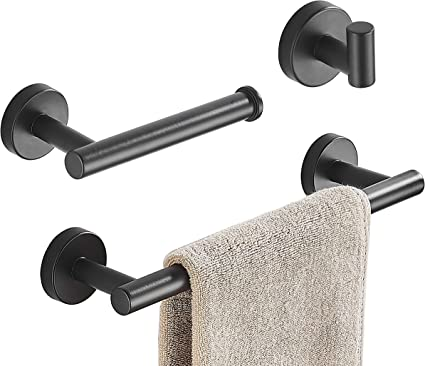 Amazon Com 3 Pieces Bathroom Hardware Set Matte Black Towel Bar Sus304 Stainless Steel Bath Hardware Accessory Wall Mounted Including 12 Inch Towel Holder Toilet Paper Holder Robe Hook Kitchen Dining