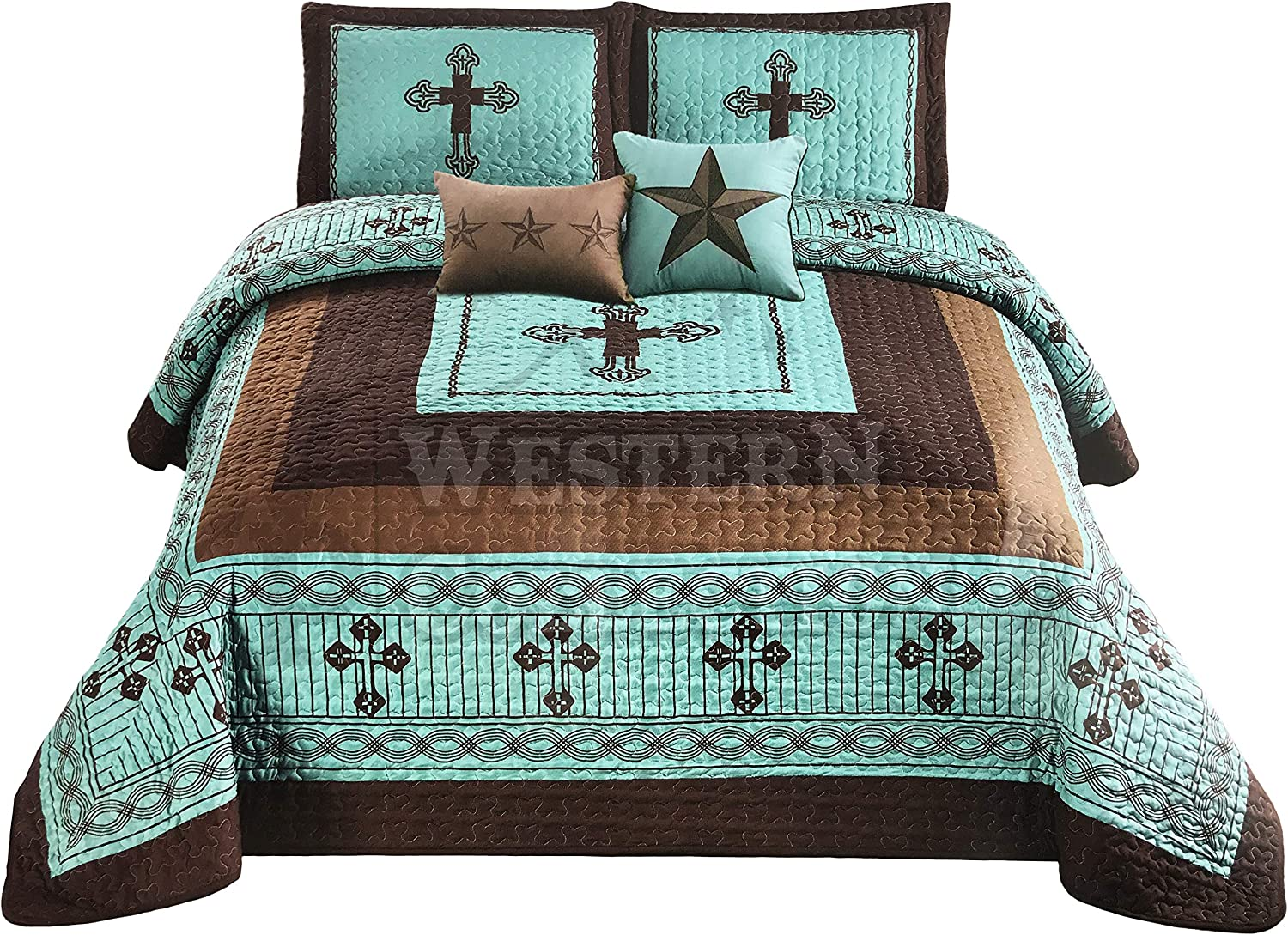 Western Collection New 5 Pieces Western Stars and Horses Cowboy Luxury Home Quilt Bedspread Oversize Comforter with Cushions (King, Turquoise Cross)