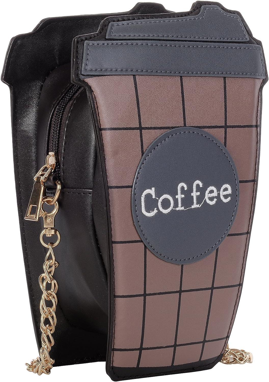 QZUnique Womens Mini Summer Cute Cartoon Coffee Cup Pattern Clutch Cross body Handbag Purse