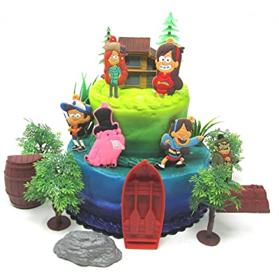 Gravity Falls Deluxe Birthday Cake Topper Set Featuring Gravity Fall Characters and Themed Accessories: Toys & Games