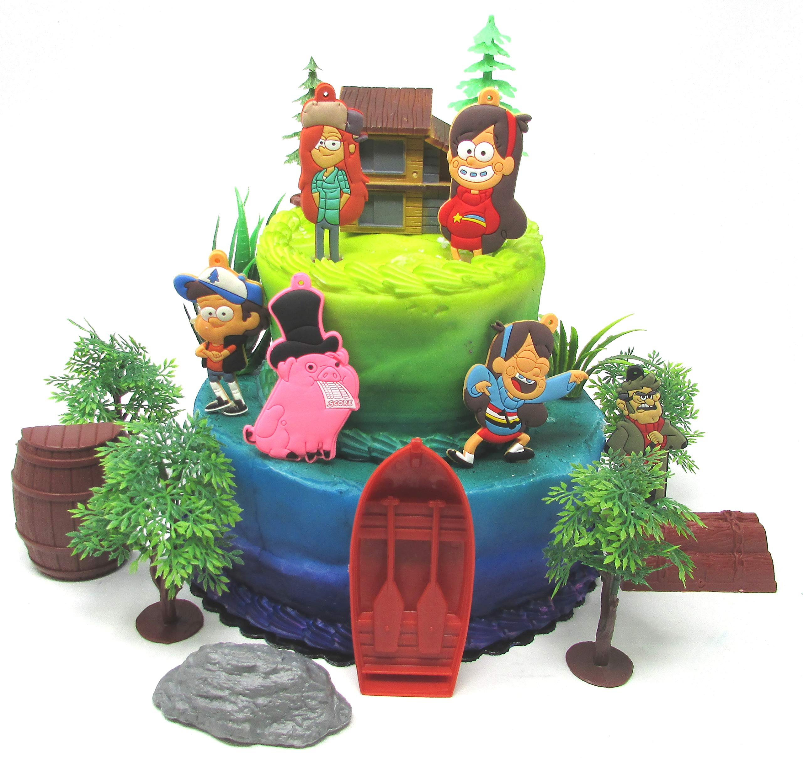 Gravity Falls Deluxe Birthday Cake Topper Set Featuring Gravity Fall Characters and Themed Accessories by Cake Toppers