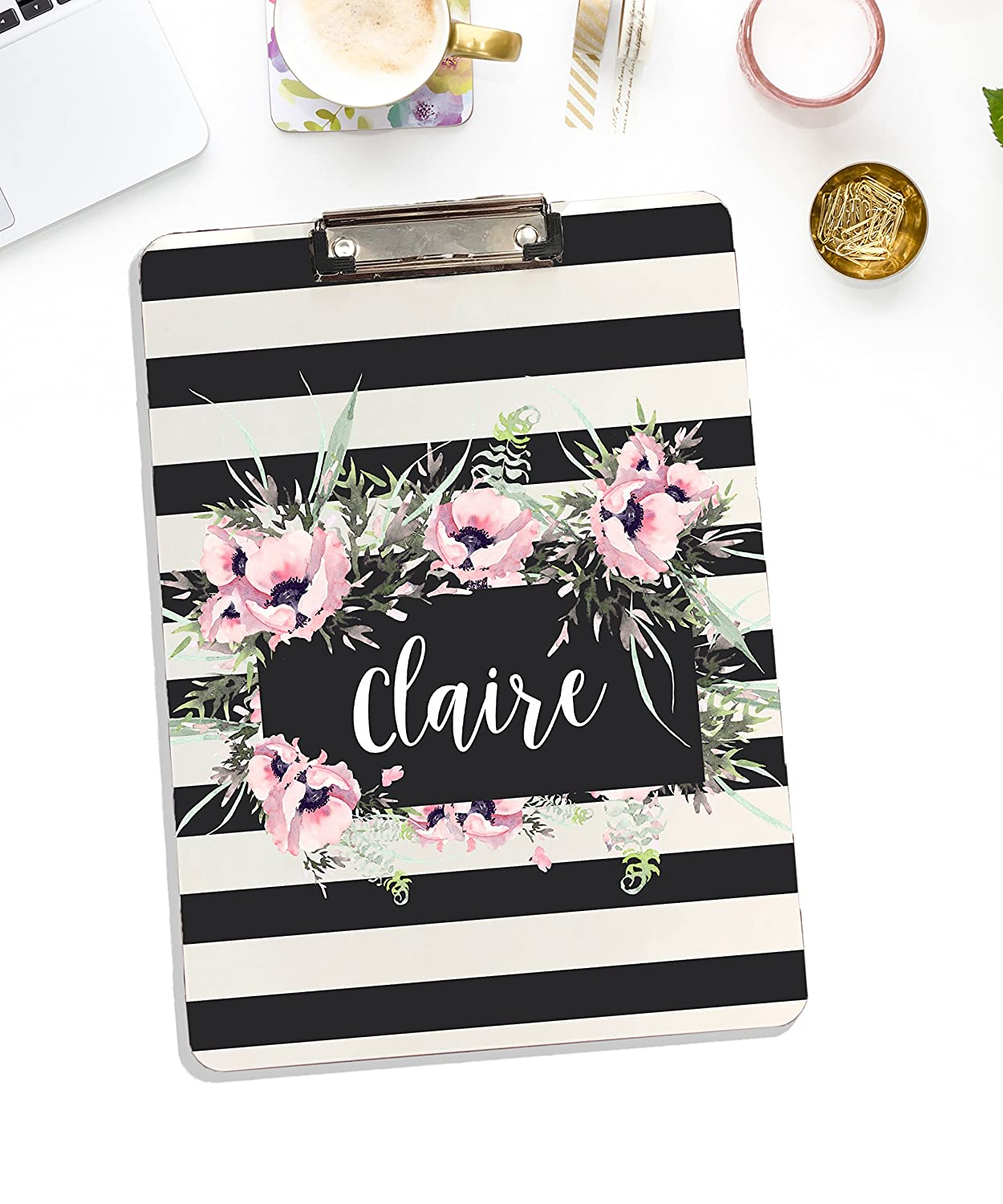 Whiteboard Personalized Clipboard With Flower Design