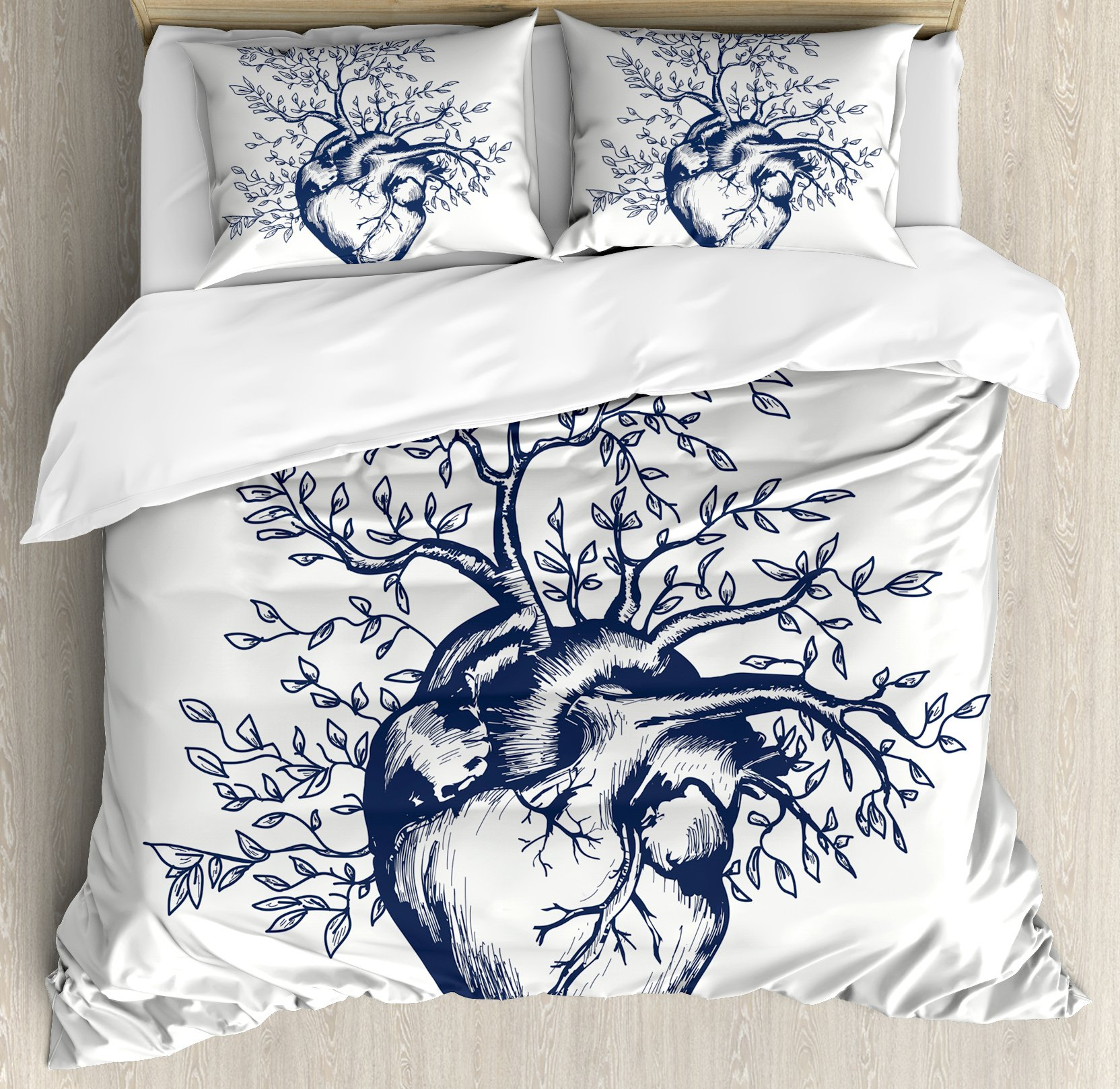Surrealistic Queen Size Duvet Cover Set by Ambesonne, Human Heart Blooming with Tree Leaves Anatomy of Life and Love Concept, Decorative 3 Piece Bedding Set with 2 Pillow Shams, Dark Blue Cream