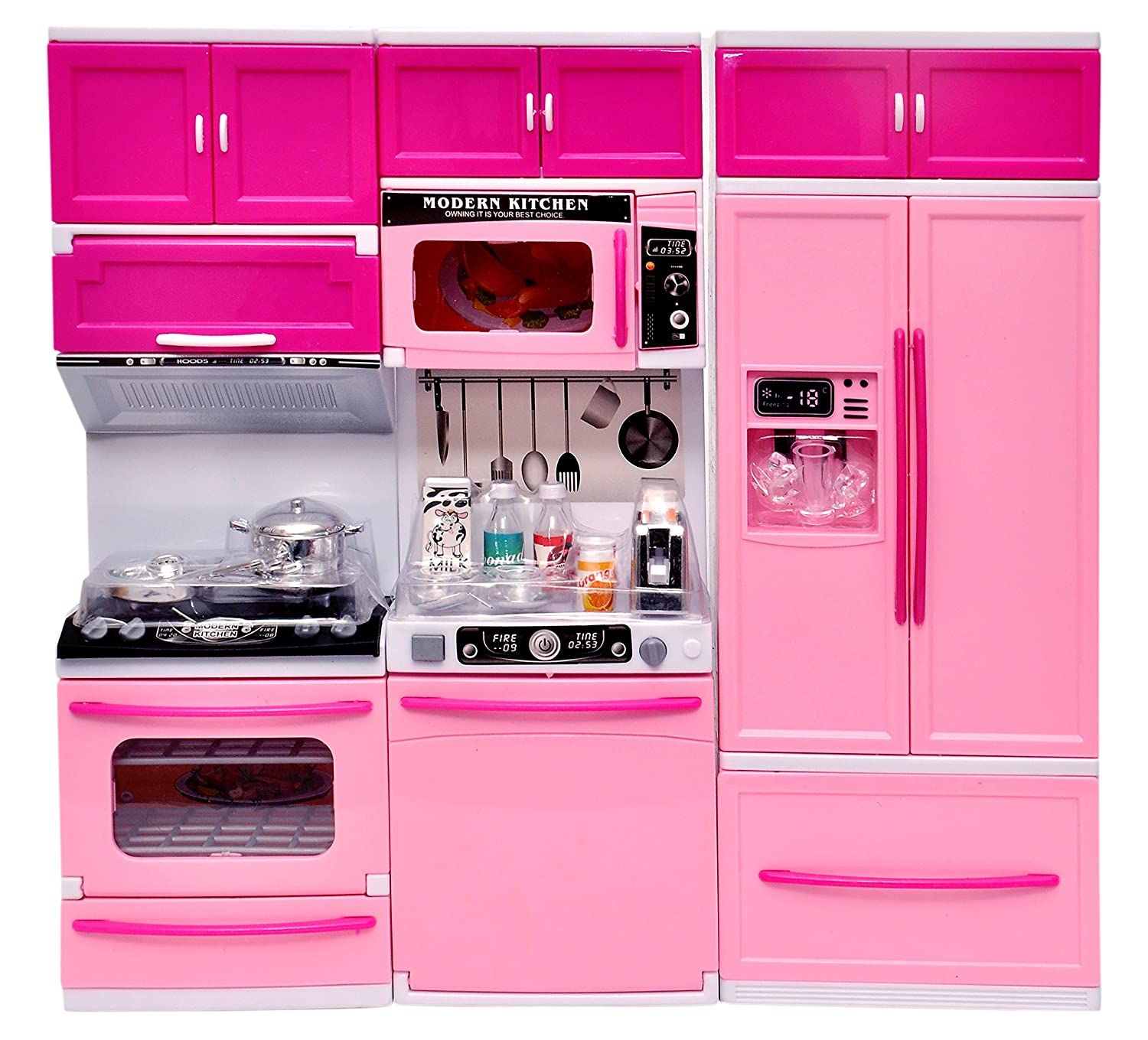 Buy Toyshine Modern Kitchen Toy Set Battery Operated Play Set Pink Online At Low Prices In India Amazon In