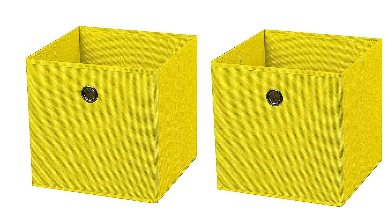 2 Pièce Jaune Boîte Pliante Boxas 28 X 28 X 28 Cm En Tissu Boîte De Rangement Pliable