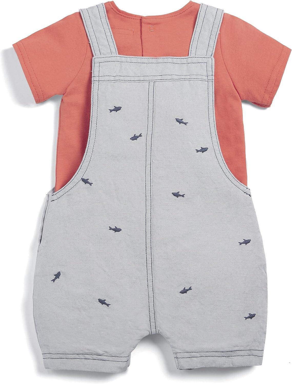 Mamas /& Papas Baby Boys Tee /& Fish Dungaree Clothing Set