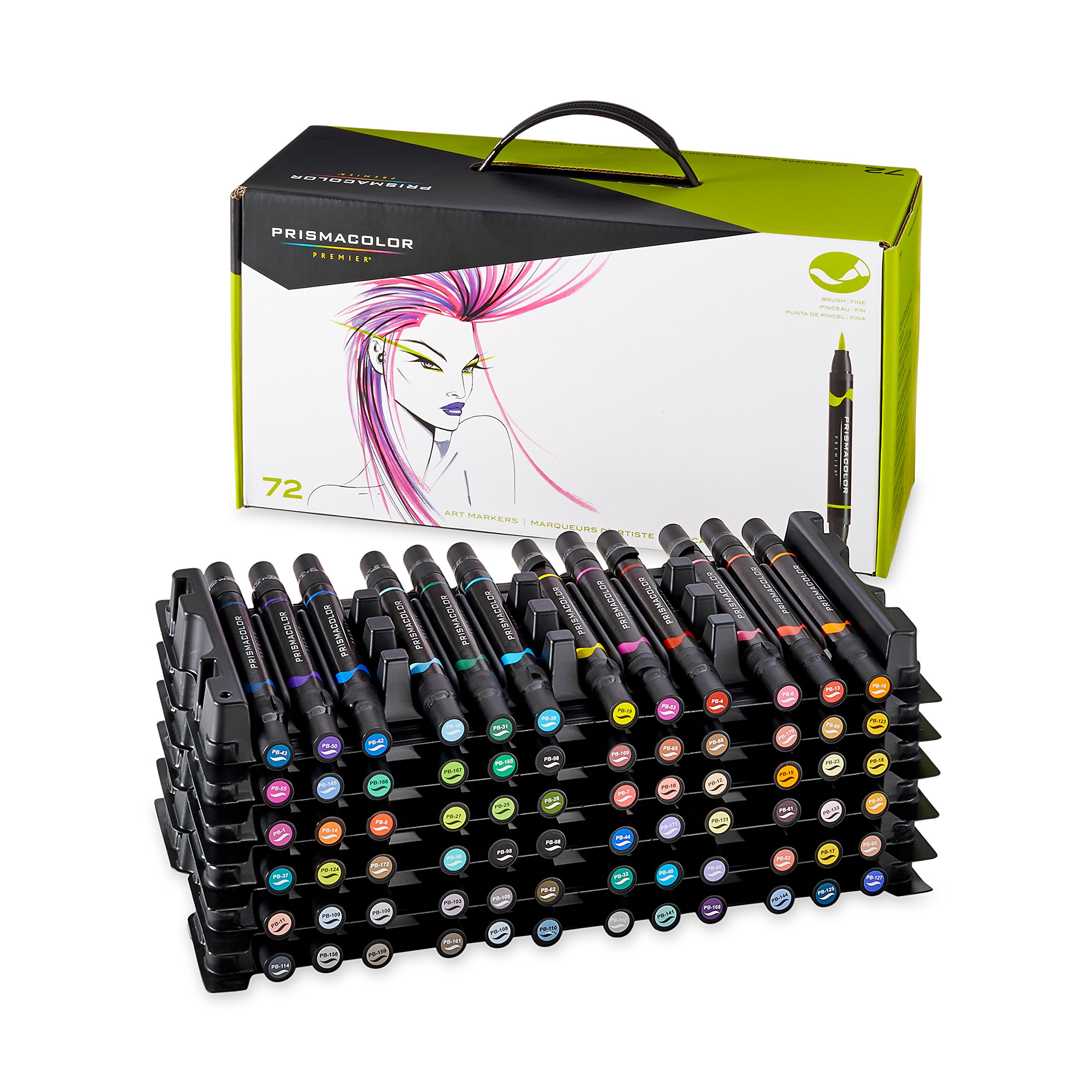 Prismacolor Premier Double-Ended Art Markers, Fine and Brush Tip, 72-Count