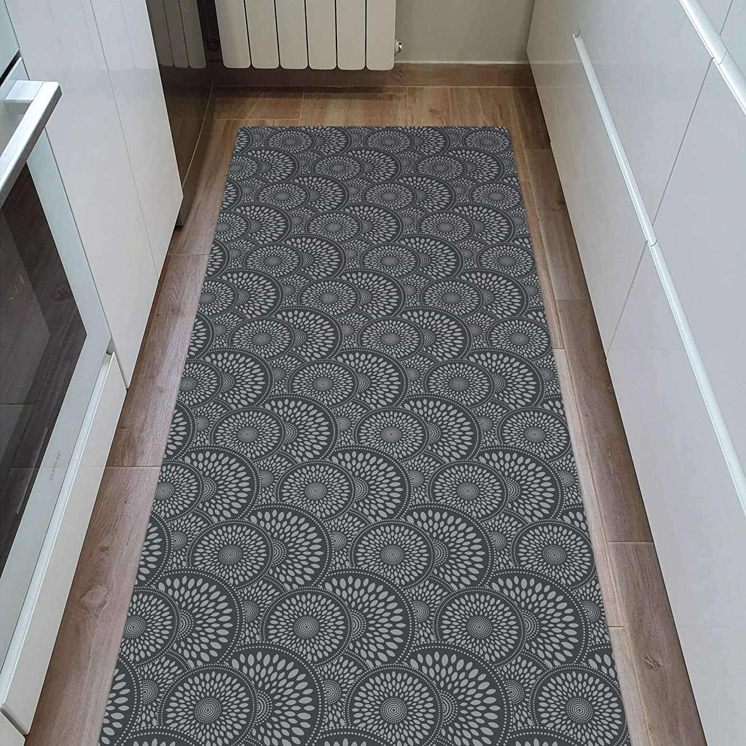 """Gray Shape28 Runner Mat Ultra-Thin Kitchen Rug with Non Slip Rubber Backing 60x23/"""""""