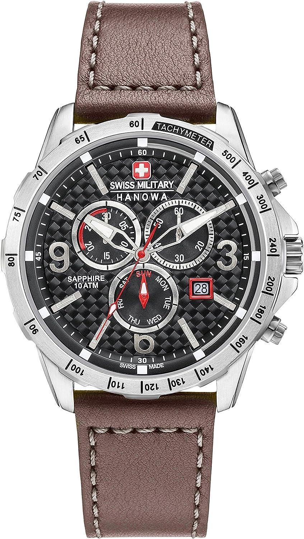 Swiss Military - Reloj de pulsera de cuarzo para hombre con esfera negra, cronógrafo y correa de piel marrón (6-4251.04.007)