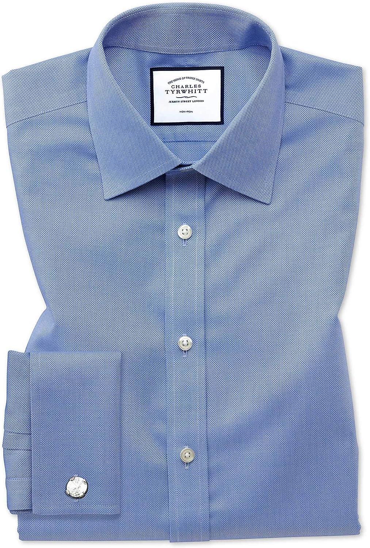 Charles Tyrwhitt Camisa Azul de Tela Royal Panama Slim fit ...